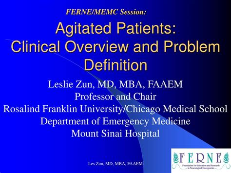 Mba Medicine Meaning ppt agitated patients clinical overview and problem