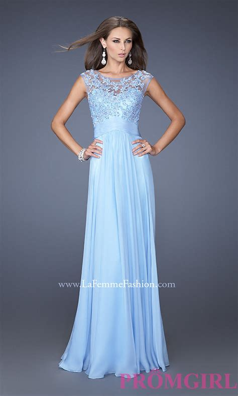 la femme 20650 illusion hi neck formal dress french novelty high neck long blue prom dresses la femme blue gowns