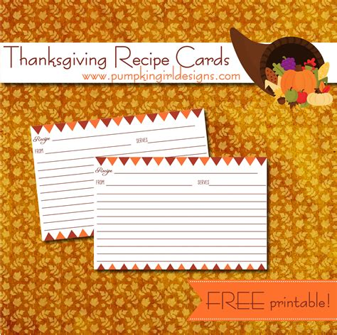 template for thanksgiving recipe cards thanksgiving recipe cards pumpkingirl designs
