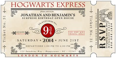 A Well Feathered Nest Harry Potter Party The Invitations Hogwarts Birthday Invitation Template