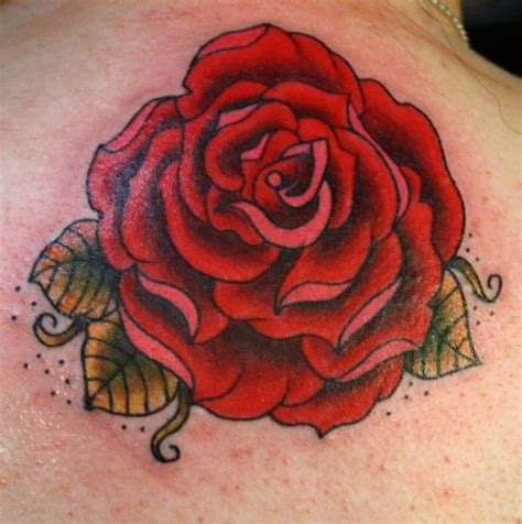 rose and leaf tattoos traditional flower with green leaves