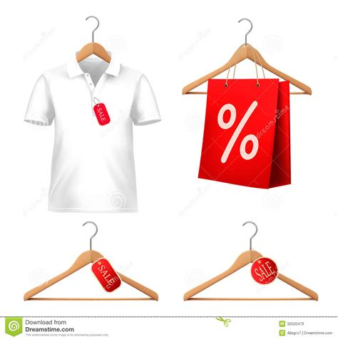 Clothes For Sale Clothes Sale Set With Hangers And Price Tags Stock Vector