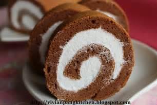 vivian pang kitchen chocolate swiss roll with whipped cream chiffon cake method