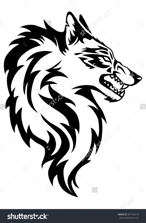 white wolf tattoo illustration of wolf black and white