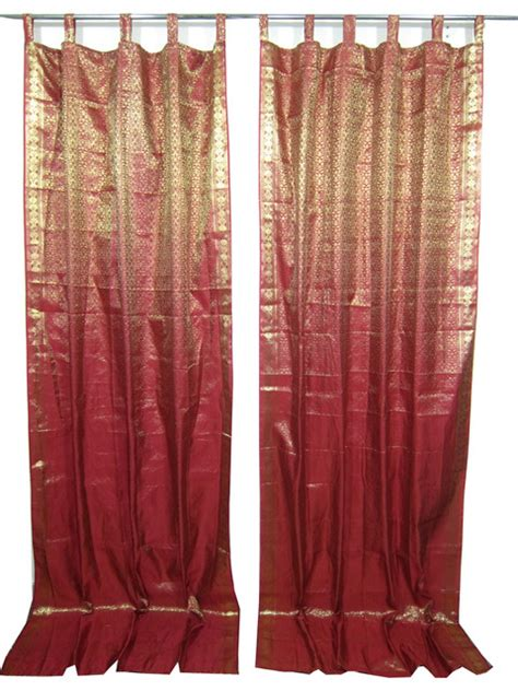 indian sari curtains indie style decor 2 red maroon gold brocade indian sari