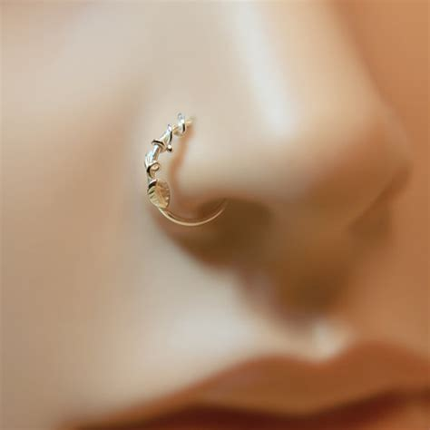 nose ring leaf floral motif customize sterling silver by