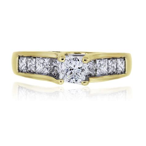 14k yellow gold 1 78ctw princess cut engagement ring