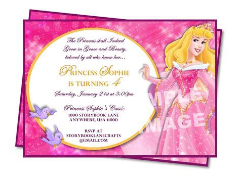 Princess Birthday Invitation Card Template by Invitation Sleeping Invitation Disney