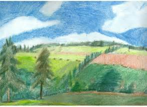 colored pencil landscape country landscape colored pencil drawing by