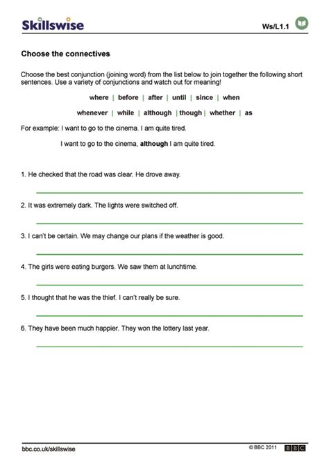 printable worksheets for year 3 english choose the connectives
