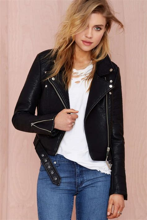 womens faux leather jackets  spring   chic