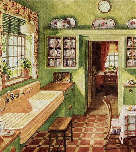 1920s Home Interiors by 1929 Folk Style Kitchen Crane Ad For Corwith Sink