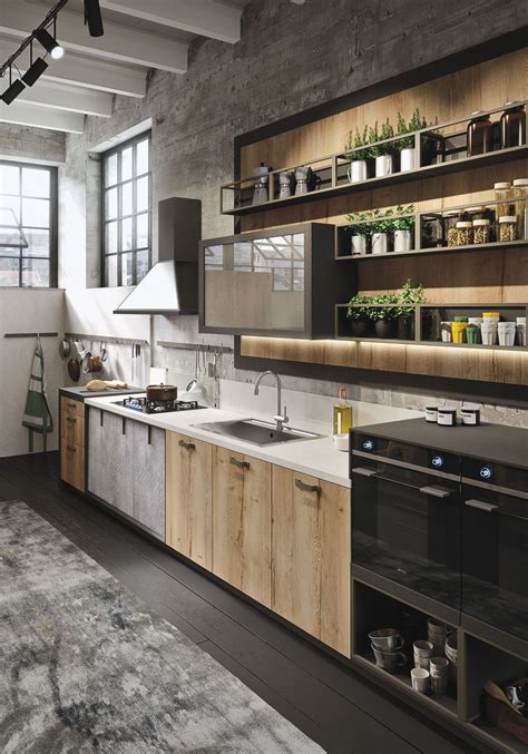 Industiral And Rustic Loft Kitchen By Snaidero Digsdigs Industrial Design Kitchen