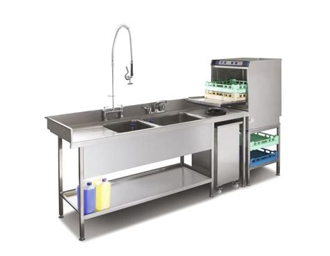 Commercial Kitchen Sinks Pot Wash Sink And Commercial Dishwasher Combination Suitable For Small Commercial Kitchens