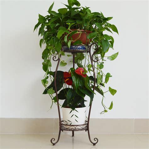 design of flower pot stand european garden white iron flower stand landing two stairs