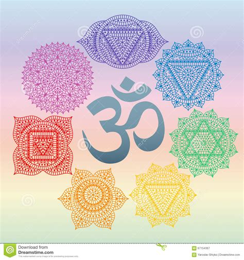 set of seven chakras and symbol om in the centre oriental