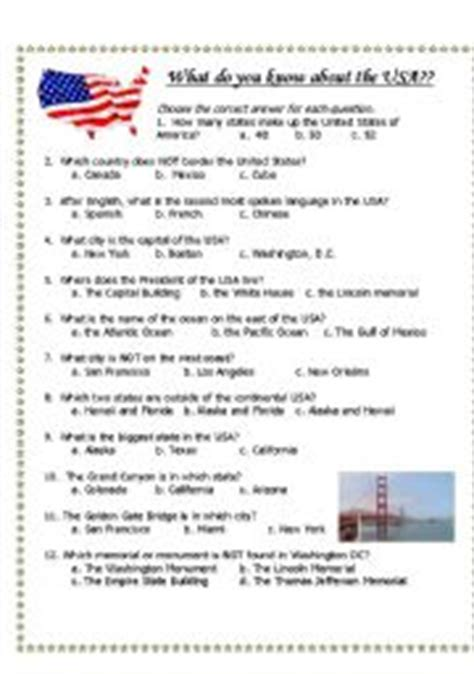 quiz questions usa english worksheets usa general knowledge quiz and pictures