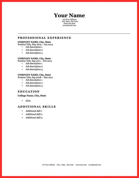 simple resume sle in word format write template resume format
