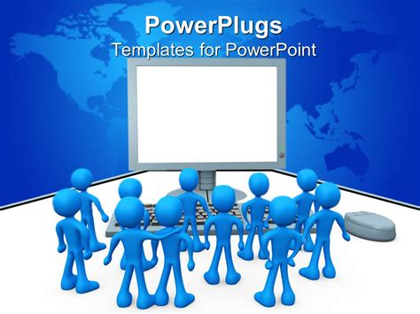powerpoint template computer powerpoint template lots of blue colored 3d characters