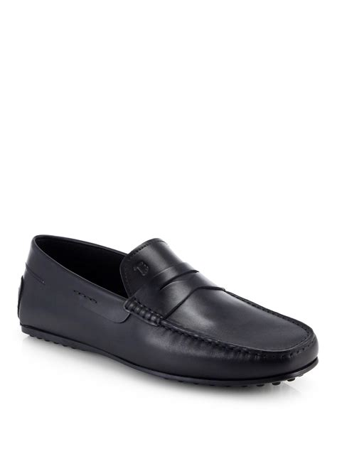 tod s loafers lyst tod s city gommino loafers in black for