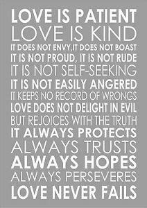 Love Is Patient Love Is Kind 1 Corinthians 13:4 Popular