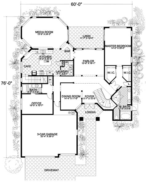 floor plans with stairs mediterranean house plan with two stairs 32141aa 1st