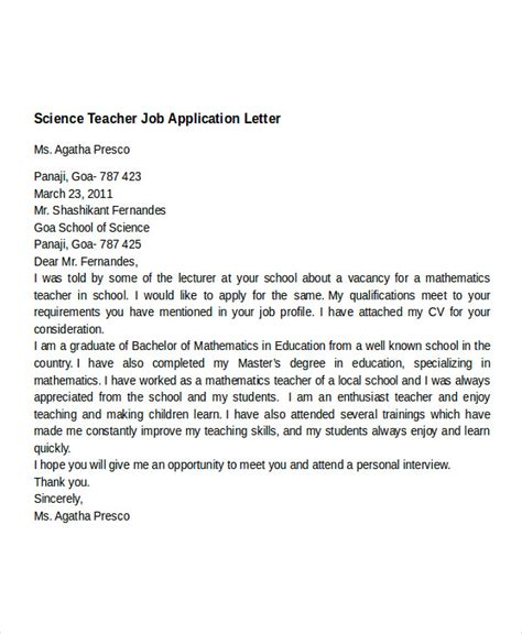 application letter for teacher job docoments ojazlink