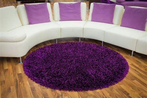 Bedroom Round Purple Fur Rug Added By Curvy White Sofa Purple Rugs For Bedroom