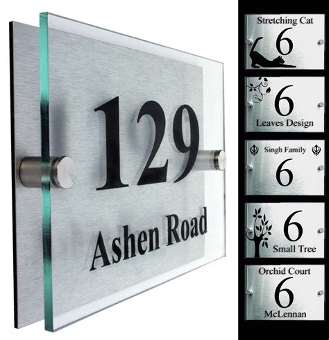 Glass Door Number Signs Co Uk House Numbers Signs Garden Outdoors Contemporary Garden Inspiration