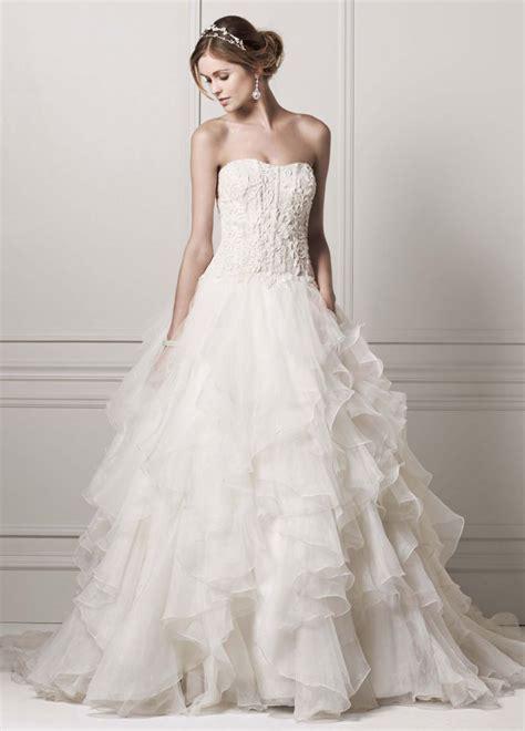 oleg cassini strapless ball gown wedding dress with