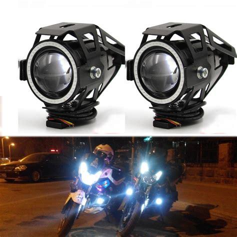 Lu Led Motor Vespa meetrock 2 pcs motorcycle headlight led u7 motorbike driving fog daytime running light drl light