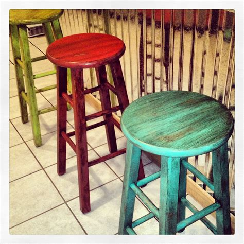 Painted Counter Stools by Painted Stools With Glaze Brushed On Beautifulsalvage