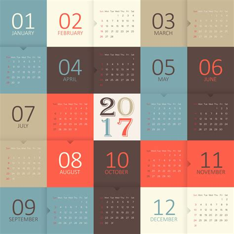 Calendar 2017 And 2018 Vector 2017 2018 2019 Calendar Template Vector Cdrai