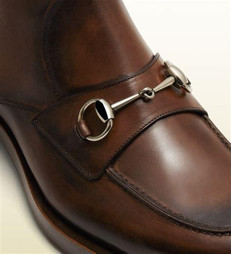 Gucci Catur Segi Bown 1 lyst gucci leather horsebit boot in brown for