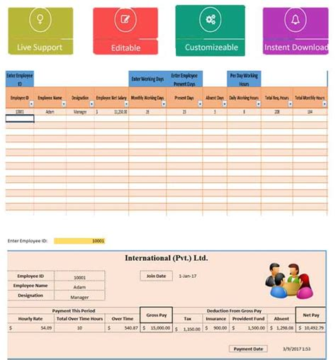 salary sheet template in excel monthly salary sheet excel template template124