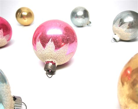 shiny brite christmas ornaments glass set pastel by