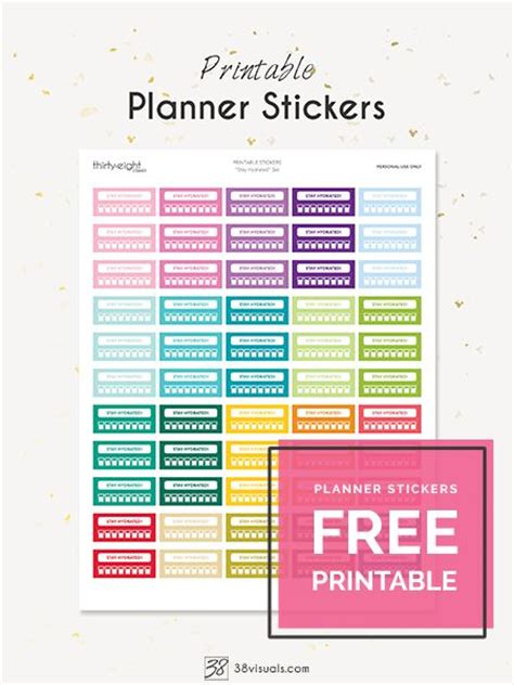 free printable planner set free printable planner stickers quot stay hydrated quot set it