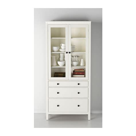 cabinet with glass doors and drawers hemnes glass door cabinet with 3 drawers white stain 90x197 cm ikea