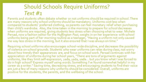 School Uniforms Debate Essay by Argument Essay Writing Ppt