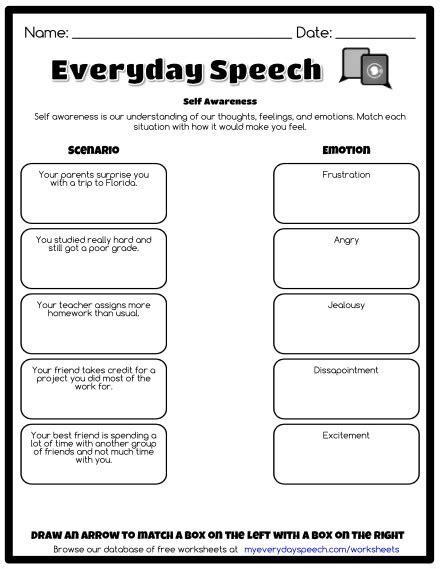 Self Awareness Worksheets by Trending Worksheets Everyday Speech Everyday Speech