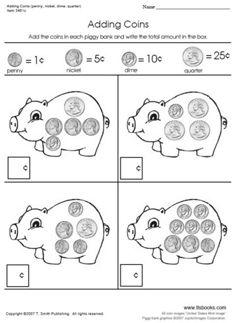adding coins worksheets