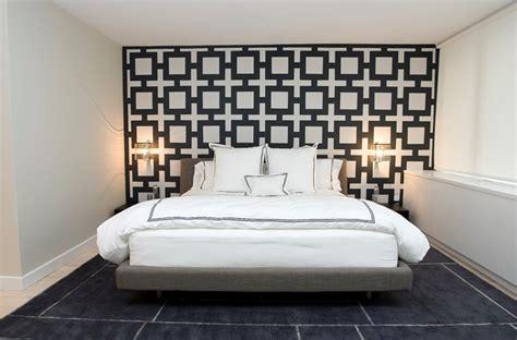 bed wallpaper chain link wallpaper contemporary bedroom haus interior