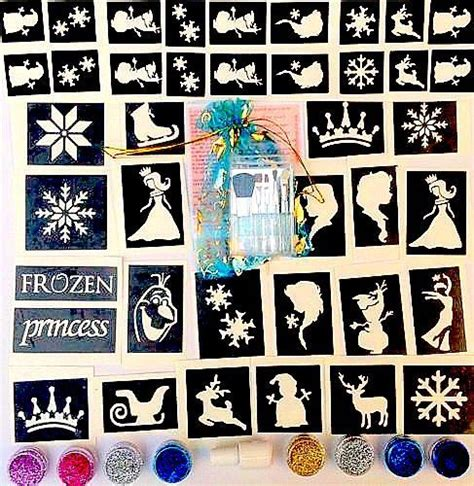 glitter tattoo kit ireland glitter tattoo kit frozen 50 stencils 8 glitters glue elsa