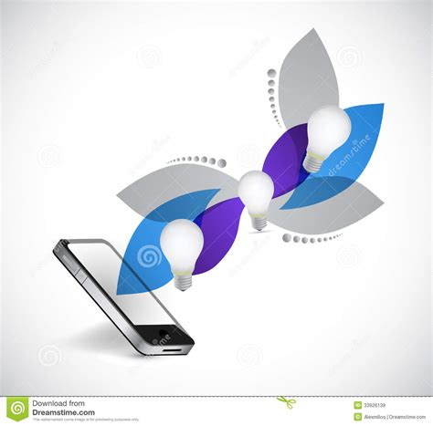 design idea phone and idea design leave graphic stock illustration