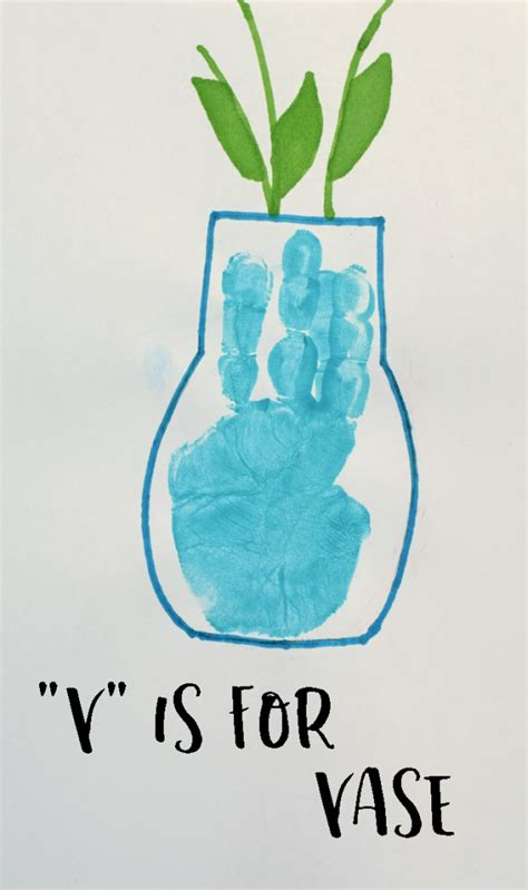 V Is For Vase by Letter V Vase Handprint Craft For Preschoolers
