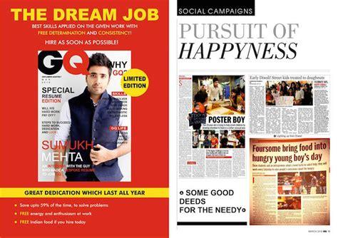 magazine layout resume this guy s magazine style resume got him an internship at