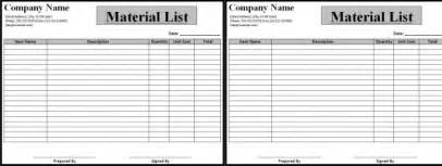 material list template list template for material template of material list