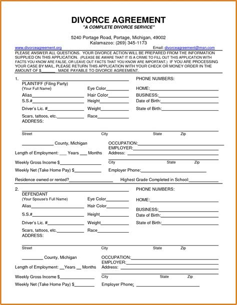 Free divorce papers com