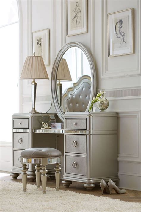 vanity bathroom silver metal make up table and mirror also