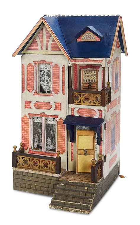 doll houses with elevators home at last antique doll and dollhouses 155 german wooden blue roof dollhouse by